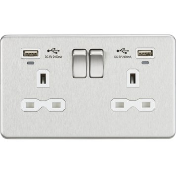 KnightsBridge 13A 2G Switched Sockets, Dual USB (2.4A) with LED Charge Indicators - Brushed Chrome - White Insert