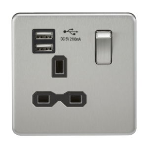 KnightsBridge 1G 13A Screwless Brushed Chrome 1G Switched Socket with Dual 5V USB Charger Ports - White Insert
