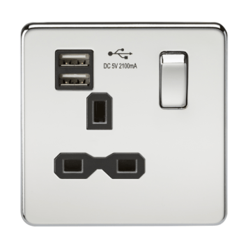 KnightsBridge 1G 13A Screwless Polished Chrome 1G Switched Socket with Dual 5V USB Charger Ports - Black Insert