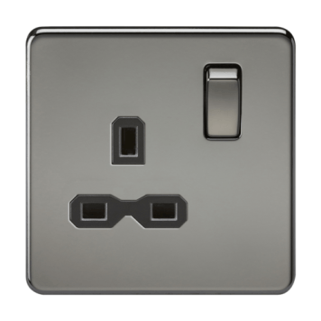 KnightsBridge 1G DP 13A 230V Screwless Black Nickel UK 3 Pin Switched Electrical Wall Socket - Black Insert