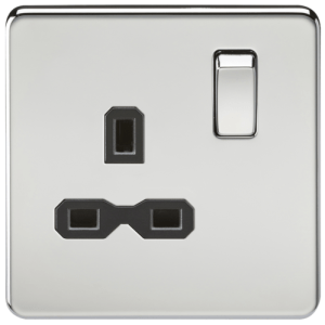 KnightsBridge 1G DP 13A 230V Screwless Polished Chrome UK 3 Pin Switched Electrical Wall Socket - Black Insert