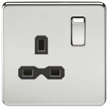 KnightsBridge 1G DP 13A 230V Screwless Polished Chrome UK 3 Pin Switched Electrical Wall Socket - Black Insert