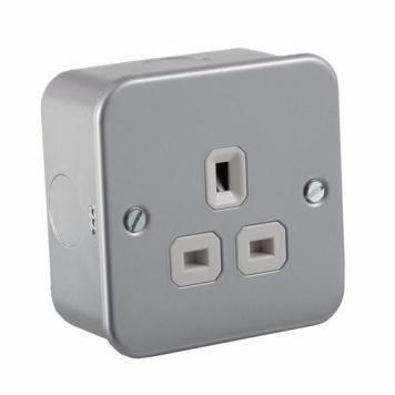 KnightsBridge 1G DP 13A Metal Clad 230V UK 3 Pin Un-Switched Electric Wall Socket