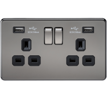 KnightsBridge 2G 13A Screwless Black Nickel 2G Switched Socket with Dual 5V USB Charger Ports - White Insert