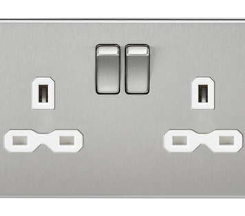 KnightsBridge 2G DP 13A Screwless Brushed Chrome 230V UK 3 Pin Switched Electric Wall Socket - White Insert