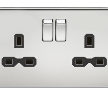 KnightsBridge 2G DP 13A Screwless Polished Chrome 230V UK 3 Pin Switched Electric Wall Socket - Black Insert