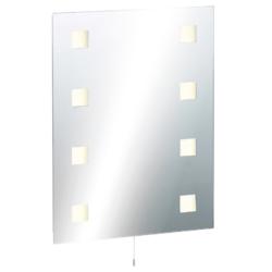 KnightsBridge Illuminated Decorative Bathroom Wall Mirror IP44 Rated with Dual Shaver Socket & Demister