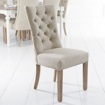 Lancelot Curved Back Dining Chair Beige With Button Detailing