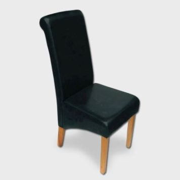 London Wave Back Dining Chair Black & Faux Leather