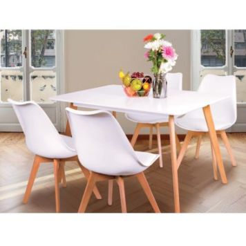 Malmo Dining Set With Four Chairs Beech & White