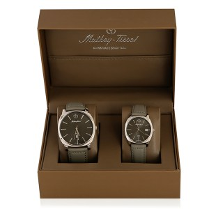 Mathey Tissot Couples Stainless Steel Watch with Genuine Leather Straps