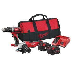 Milwaukee Power Tools M18 BPP20 Combi Grinder Twin Pack 18V 2 x 4.0Ah Li-ion