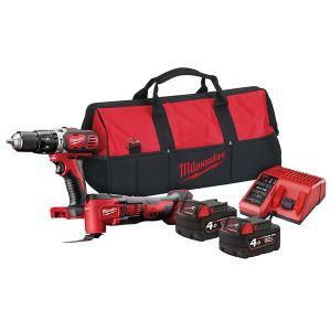 Milwaukee Power Tools M18 BPP2P-402B Combi Multi-Tool Twin Pack 18V 2 x 4.0Ah Li-ion