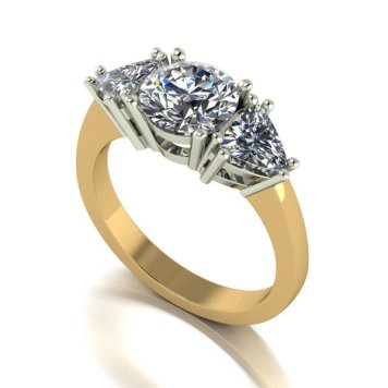 Moissanite 9ct Gold 2.0ct eq Round and Trillion Shaped Trilogy Ring