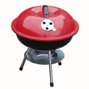 Redwood Mini Portable Barbecue With Enameled Red Finish