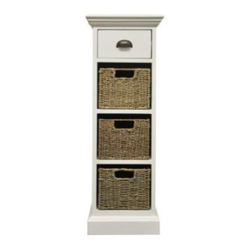 Rivera Willow 3 Basket 1 Drawer Chest White
