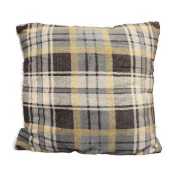 Sherpa Fleece & Tartan Cushion 50 x 50cm Grey & Beige