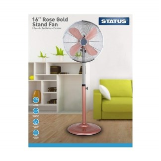 """Status 16"""" Rose Gold Stand Fan"""