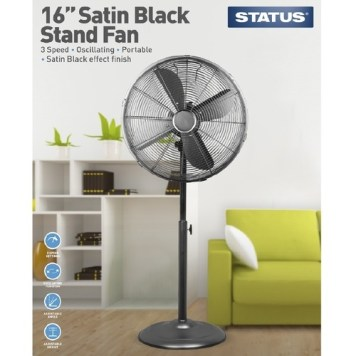 "Status 16"" Satin Black Stand Fan"