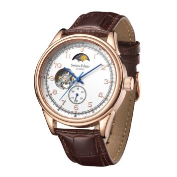 Swan & Edgar Gent's Orbiter Automatic Moon Phase Watch with Genuine Leather Strap