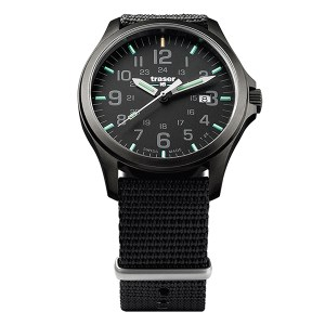 Traser Gent's Swiss P67 Officer Gunmetal Watch with Black Textile Nato Strap