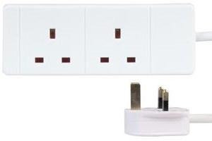 Zexum 2 Gang Socket 1.5mm Extension Lead, White - 2m