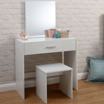 Budget Dressing Table White 1 Drawer With Stool