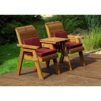 Charles Taylor 2 Seat Set Straight Garden Bench - Burgundy Cushion