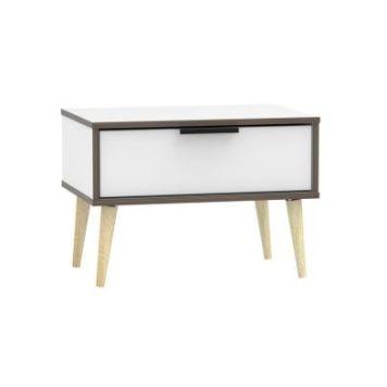 Drayton Wide Bedside White 1 Drawer Oak Style