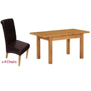 Holkham Extending Dining Set Oak With 4 Brown Chairs
