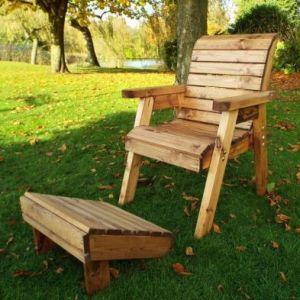 One Seater Lounger Chair & Footstool Scandinavian Redwood Garden Set