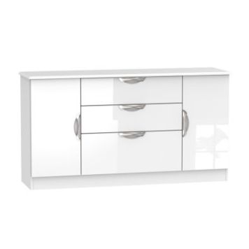 Weybourne Wide Sideboard White 2 Door 3 Drawer
