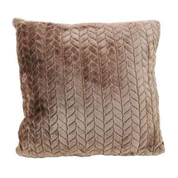 Hamilton McBride Jacquard Flannel Cushion Brown 50 x 50cm