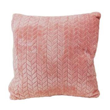 Hamilton McBride Jacquard Flannel Cushion Pink 50 x 50cm