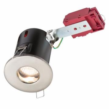 KnightsBridge IP65 GU10 50W 230V LED IC Fire Rated Fixed Shower Downlight - Brushed Chrome