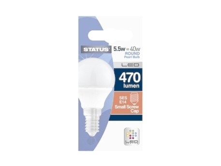 Status 5.5W SES Round Pearl LED Bulb - Dimmable
