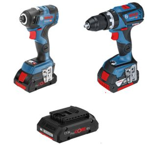 Bosch Bosch GSB 18V-60 C 18V Combi Drill and GDR 18 V-200 C Impact Driver with 1 x 4Ah and 2 x 5.0Ah batteries, Charger, L-BOXX