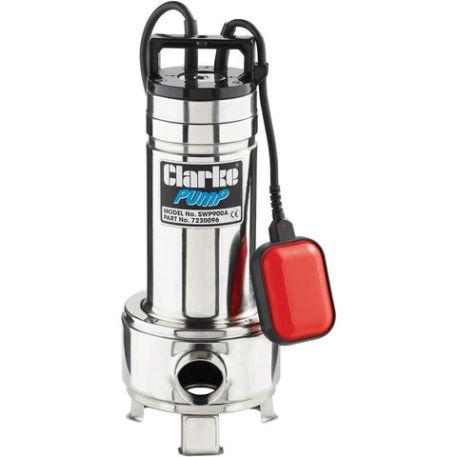 """Clarke Clarke SWP900A 1½"""" 1100W 350Lpm 9m Head Heavy Duty Submersible Sewage Pump with Float Switch (230V)"""