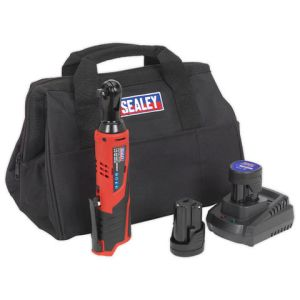 "Sealey Sealey CP1202KIT 12V 3/8"" Drive Ratchet Wrench Kit - 2 x 1.5Ah Batteries & Charger"