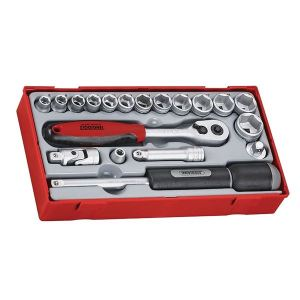 Teng TT3819 Regular Metric Socket Set, 19 Piece - 3/8in Drive