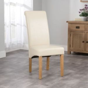London Wave Back Dining Chair Cream & Faux Leather