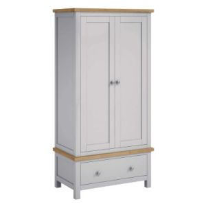 Lucerne Oak Grey 2 Door 1 Drawer Gents Wardrobe
