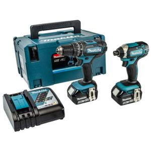 Makita Makita 18V LXT Li-Ion 13mm 54Nm Hammer Driver Drill & 165Nm Impact Driver Cordless Twin Pack