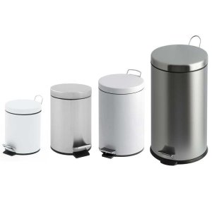 12 Litre White Metal Pedal Bin with Plastic Liner