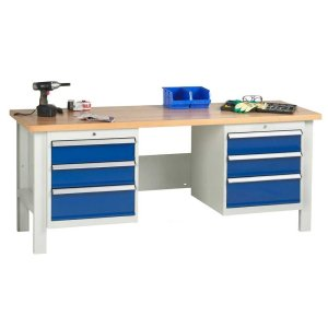2000mm wide Basic Industrial Workbench - 1x Drawers and 1x Cupboard