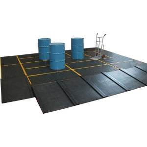 4 Drum Work Floor Spill Containment - Yellow - 1.6m x 1.6m - 239 litres