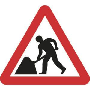 600mm Triangular Road Works Roll-up Sign
