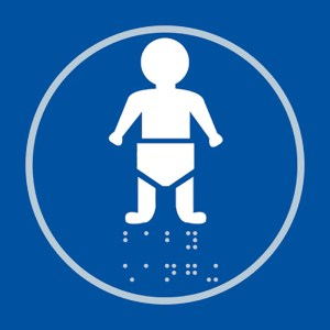 Baby Changing Blue Braille Sign