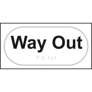 Braille Way Out Sign