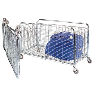 Bright Zinc Folding Container / Cage Trolley 700 long 100kg cap